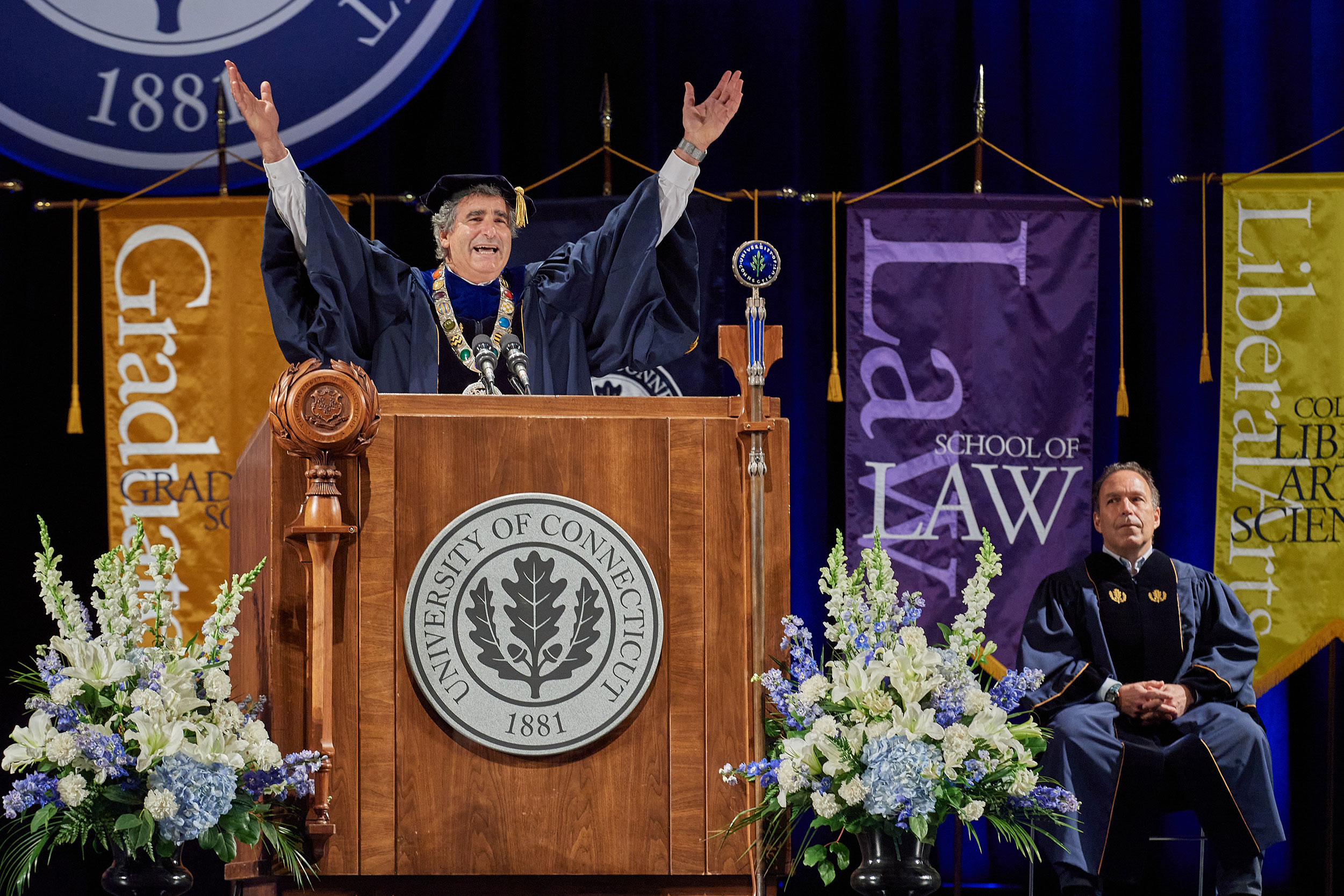 President Tom Katsouleas celebrates during the virtual commencement 2020